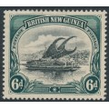 PAPUA / BNG - 1901 6d black/myrtle-green Lakatoi, vertical rosettes watermark, comb perf., MH – SG # 14