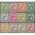 NEW GUINEA - 1932-1934 1d to 2/- Bird of Paradise short set of 12, no dates, MH – SG # 177-186+179a+180a