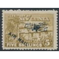 NEW GUINEA - 1931 5/- olive-bistre Native Village, overprinted AIR MAIL, MH – SG # 147
