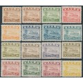 NAURU - 1937-1948 ½d to 10/- Freighter set (shiny paper), both ½d perfs + an extra 2½d shade, MH – SG # 26B-39B+26Bc