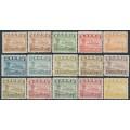 NAURU - 1937-1948 ½d to 10/- Freighter set (shiny paper), both ½d perfs, MNH – SG # 26B-39B+26Bc