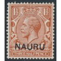NAURU - 1923 1½d red-brown GB KGV definitive overprinted NAURU, MH – SG # 3