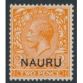 NAURU - 1923 2d orange (die II) GB KGV definitive overprinted NAURU, MH – SG # 5