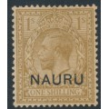 NAURU - 1916 1/- bistre-brown GB KGV definitive overprinted NAURU, MH – SG # 11