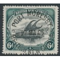 PAPUA / BNG - 1901 6d black/myrtle-green Lakatoi, vertical rosettes watermark, used – SG # 14