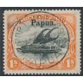 PAPUA / BNG - 1906 1/- black/orange Lakatoi, horizontal watermark, o/p large Papua, used – SG # 19