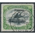 PAPUA / BNG - 1907 ½d black/yellow-green Lakatoi, horizontal watermark, o/p small Papua, used – SG # 34a