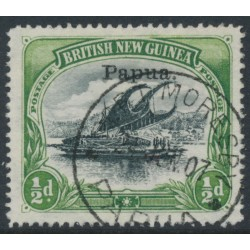 PAPUA / BNG - 1907 ½d black/yellow-green Lakatoi, horizontal watermark, o/p small Papua, used – SG # 34a