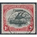 PAPUA / BNG - 1907 1d black/carmine Lakatoi, vertical watermark, o/p small Papua, used – SG # 39