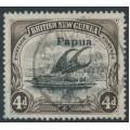 PAPUA / BNG - 1907 4d black/sepia Lakatoi, vertical watermark, o/p small Papua, used – SG # 42