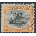 PAPUA / BNG - 1907 1/- black/orange Lakatoi, vertical watermark, o/p small Papua, used – SG # 44b
