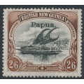 PAPUA / BNG - 1907 2/6 black/brown Lakatoi, vertical watermark, o/p small Papua, MH – SG # 45a