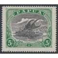 PAPUA / BNG - 1916 5/- black/deep green Lakatoi, sideways crown A watermark, MH – SG # 104