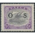 PAPUA / BNG - 1932 9d lilac/violet Lakatoi, overprinted OS, MH – SG # O63