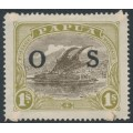 PAPUA / BNG - 1931 1/- brown/yellow-olive Lakatoi, overprinted OS, MH – SG # O64