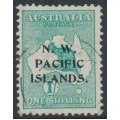 AUSTRALIA / NWPI - 1915 1/- emerald Kangaroo, 1st watermark, 'retouch under ES', used – SG # 81