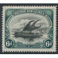 PAPUA / BNG - 1901 6d black/myrtle-green Lakatoi, horizontal rosettes watermark, MH – SG # 6