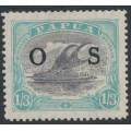 PAPUA / BNG - 1932 1/3 lilac/pale greenish blue Lakatoi, overprinted OS, MH – SG # O65