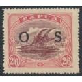 PAPUA / BNG - 1931 2/6 maroon/pale pink Lakatoi, overprinted OS, MH – SG # O66