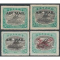 PAPUA / BNG - 1929-1930 3d black/blue-green Lakatoi with airmail overprints, MH – SG # 112, 114, 118