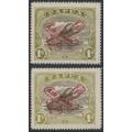 PAPUA / BNG - 1930 1/- brown/olive Lakatois, Harrison & Ash printings, MH – SG # 117, 120
