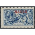 NAURU - 1916 10/- pale blue Great Britain Sea Horses with treble NAURU overprint, MH – SG # 23a