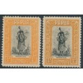 PAPUA / BNG -1932-1940 ½d black/orange & ½d black/buff Motuan Girl, MNH – SG # 130+130a