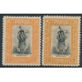 PAPUA / BNG -1932-1940 ½d black/orange & ½d black/buff Motuan Girl, MH – SG # 130+130a