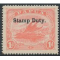 PAPUA / BNG - 1912 1d rose-pink Lakatoi, overprinted STAMP DUTY, MH – SG # F1