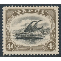 PAPUA / BNG - 1910 4d black/sepia Lakatoi, p.11, sideways watermark, 'deformed d at left', MH – SG # 63a