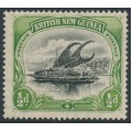 PAPUA / BNG - 1901 ½d black/yellow-green Lakatoi, vertical rosettes, comb perf., MH – SG # 9a