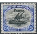PAPUA / BNG - 1906 2½d black/ultramarine Lakatoi, vertical rosettes, o/p large Papua, MH – SG # 24