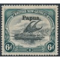 PAPUA / BNG - 1906 6d black/myrtle green Lakatoi, vertical rosettes, o/p large Papua, MH – SG # 26