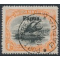 PAPUA / BNG - 1906 1/- black/orange Lakatoi, horizontal rosettes, o/p large Papua, used – SG # 19