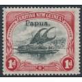 PAPUA / BNG - 1907 1d black/carmine Lakatoi, vertical watermark, o/p small Papua, MH – SG # 39