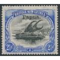 PAPUA / BNG - 1907 2½d black/ultramarine Lakatoi, vertical rosettes, o/p small Papua, MH – SG # 41