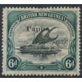 PAPUA / BNG - 1907 6d black/myrtle green Lakatoi, vertical rosettes, o/p small Papua, MH – SG # 43