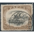 PAPUA / BNG - 1910 2/6 black/brown Lakatoi, large PAPUA, perf. 12½, used – SG # 82