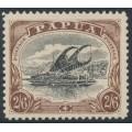 PAPUA / BNG - 1909 2/6 black/chocolate Lakatoi, large PAPUA, perf. 11, MH – SG # 48