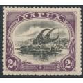 PAPUA / BNG - 1910 2d black/dull purple Lakatoi, large PAPUA, perf. 12½, MNH – SG # 77