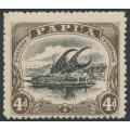 PAPUA / BNG - 1910 4d black/sepia Lakatoi, large PAPUA, perf. 12½, MNH – SG # 79
