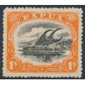 PAPUA / BNG - 1910 1/- black/deep orange Lakatoi, large PAPUA, perf. 12½, MH – SG # 81