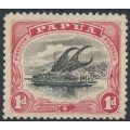 PAPUA / BNG - 1908 1d black/rose Lakatoi, small PAPUA, perf. 11, upright wmk, 'rift in clouds', MH – SG # 49