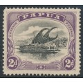 PAPUA / BNG - 1908 2d black/purple Lakatoi, small PAPUA, perf. 12½, upright wmk, MH – SG # 55