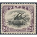 PAPUA / BNG - 1910 2d black/purple Lakatoi, small PAPUA, perf. 12½, sideways wmk, MH – SG # 68