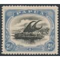 PAPUA / BNG - 1910 2½d black/dull blue Lakatoi, small PAPUA, perf. 12½, sideways wmk, MH – SG # 69