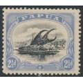 PAPUA / BNG - 1908 2½d black/pale ultramarine Lakatoi, small PAPUA, perf. 11, upright wmk, MH – SG # 51a