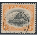 PAPUA / BNG - 1908 1/- black/orange Lakatoi, small PAPUA, perf. 11, upright wmk, used – SG # 54