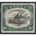 PAPUA / BNG - 1909 6d black/myrtle green Lakatoi, small PAPUA, perf. 11, sideways wmk, used – SG # 64