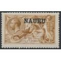 NAURU - 1916 2/6 yellow-brown Seahorses (De La Rue printing) o/p NAURU, MH – SG # 20